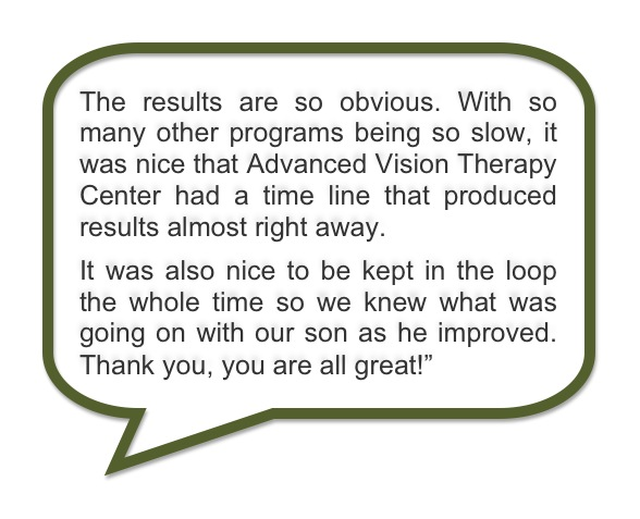 Advanced Vision Therapy Center Success Story: Zach